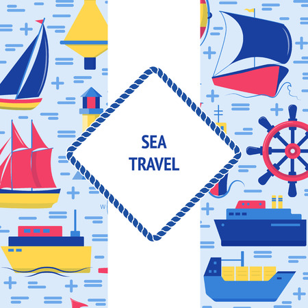 Sea travel concept banner in flat style with ships and nautical symbols. Marine vacation flyer or poster template with place for text. Иллюстрация
