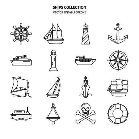 Sea collection of editable ship and nautical icons in line style. Marine symbols set including anchor, lighthouse and steering wheel. Water travel concept elements isolated.