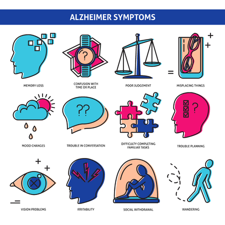 Collection of Alzheimer's disease icons isolated on white. Seniors healthcare concept symbols in colored line style. Dementia, memory loss, mood change and other symptoms.
