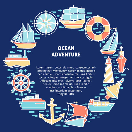 Ocean adventure round concept in line style with ships and nautical symbols. Sea travel and vacation banner or poster template with place for text.