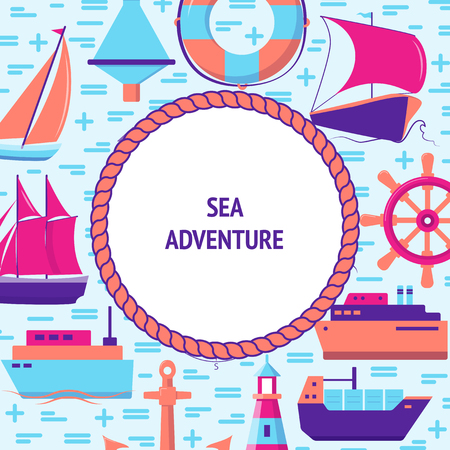 Sea adventure concept banner in flat style with ships and nautical symbols. Marine travel and vacation flyer or poster template with place for text.