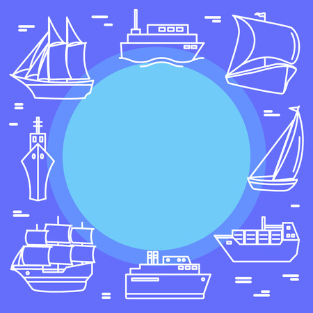 Marine travel concept banner in line style with ships and boats. Sea vacation illustration with place for text. Иллюстрация