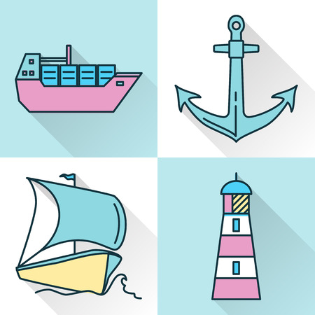 Sea collection of ship and nautical icons in line style with long shadow. Marine symbols set including anchor, container ship, lighthouse and sailboat. Water travel concept elements isolated.