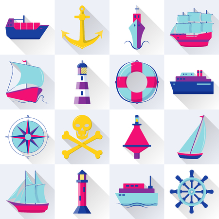 Collection of ship and nautical icons in flat style. Marine symbols set including anchor, lighthouse and steering wheel. Sea travel concept elements with long shadow. Иллюстрация
