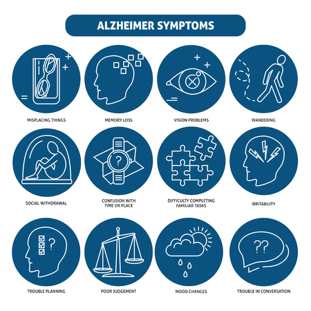 Set of Alzheimer s disease symptoms icons in line style