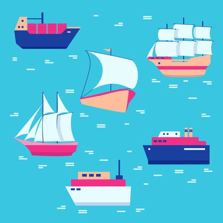 Ships and boats icons collection in flat style. Sea transportation symbols. Marine vacation concept illustration.
