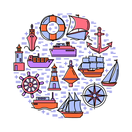 Sea spirit round concept in line style with ships and nautical symbols. Marine travel and vacation banner or poster template.