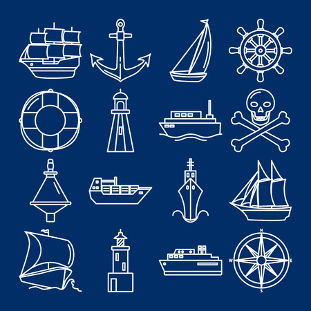 Sea collection of editable ship icons in line style. Marine symbols set including anchor, lighthouse and steering wheel. Water travel concept elements on dark background. Иллюстрация