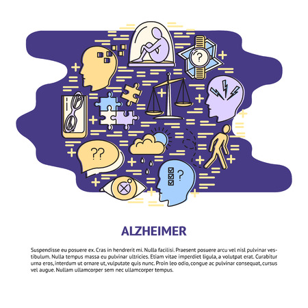 Alzheimer's symptoms round concept in line style. Banner or poster template with seniors disease signs. Medical illustration with place for text.