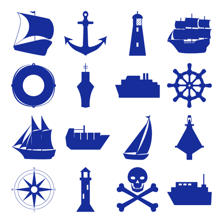 Marine collection of ship silhouette icons in flat style