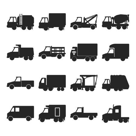 Colección de iconos de silueta de camión en estilo plano. Conjunto de símbolos de la industria de camiones aislado en blanco. Diferentes tipos de vehículos de transporte de carga. Ilustración de vector
