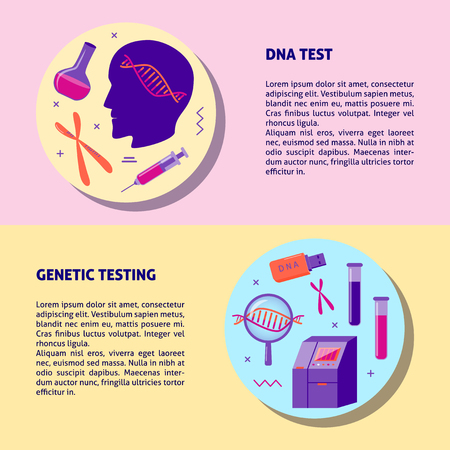 DNA genetic testing medical banner or flyer template in flat style. Gene test concept symbols. Medical illustration with place for text.