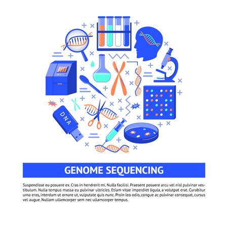 Concepto redondo de secuenciación del genoma de ADN en estilo plano. Símbolos de investigación y pruebas genéticas. Plantilla de banner o cartel médico con lugar para texto