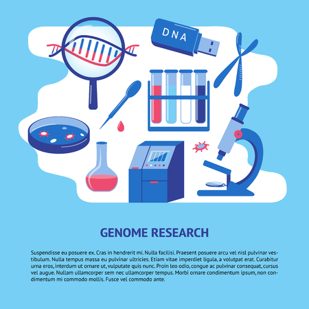 DNA genome research medical banner or poster template in flat style. Genetic testing concept symbols. Medical illustration with place for text. Ilustração