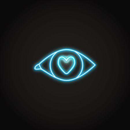 Love in the eye neon icon in line style. Glowing romantic symbol. Vector illustration. 일러스트