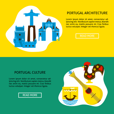 Portugal architecture and culture banner templates in flat style