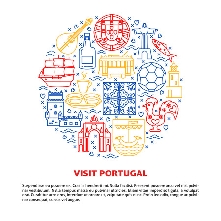 Visit Portugal round concept with icons in line style and place for text