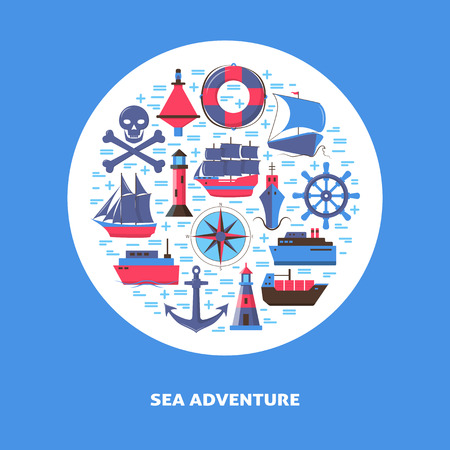 Marine round concept in flat style with ships and nautical symbols. Sea travel and vacation banner or poster template with place for text.