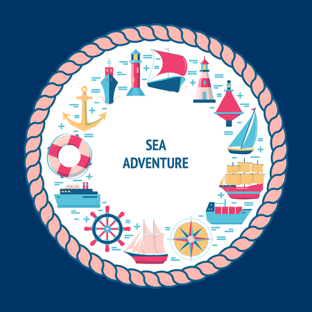 Maritime round concept in flat style with ships and nautical symbols. Sea travel and vacation banner or poster template with place for text.