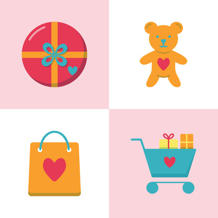 Valentine day romantic icon set in flat style. Love symbols including gift box, teddy bear toy, shopping bag with heart, shopping cart with presents. Vector illustration. Illustration