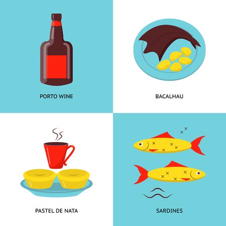 Collection d'icônes du Portugal dans un style plat. Ensemble de symboles de la cuisine traditionnelle, y compris le vin de Porto, le poisson bacalhau, les tartes au pastel de nata et les sardines.