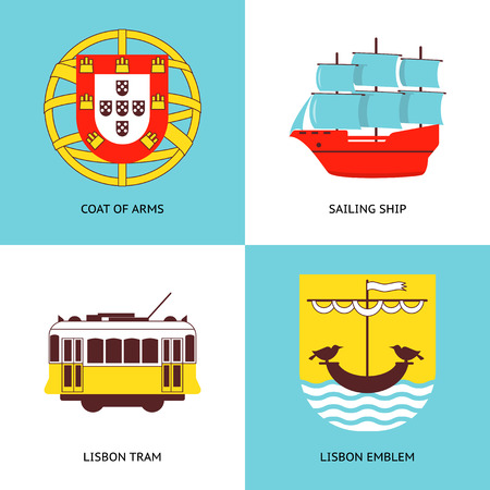 Collection of Portugal icons in flat style