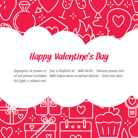 Valentine day concept banner with love icons in line style and place for text