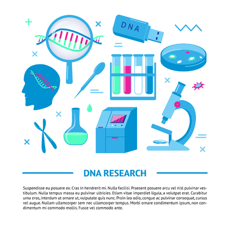 DNA research medical banner template in flat style