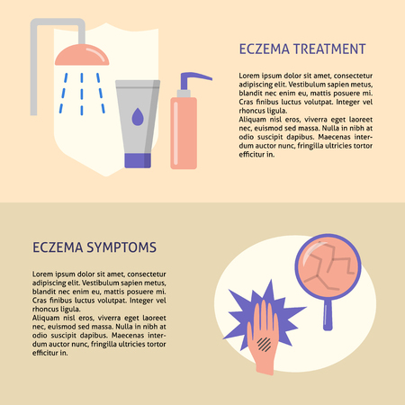 Eczema symptoms and treatment flyer templates in flat style with place for text. Skin allergy concept symbols for banner or poster. Vector illustration.