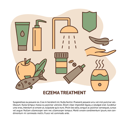Eczema treatment concept banner with text. Skin therapy symbols set in line style. Medical banner or poster template. Vector illustration.