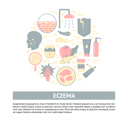 Eczema symptoms and treatment round concept banner with place for text. Medical poster template with skin allergy symbols in flat style. Vector illustration.