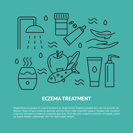 Eczema treatment concept banner with place for text. Skin care symbols set in line style. Medical banner or poster template. Vector illustration.