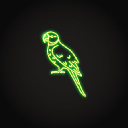 Alexandrine ringneck parrot icon in glowing neon style. Exotic tropical bird symbol. Vector illustration. Ilustração