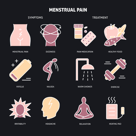 Menstruation pain icon set in line style Stock Vector - 120709290