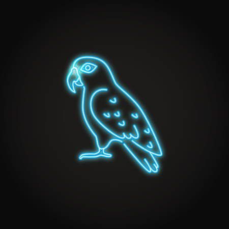 Pionus parrot icon in glowing neon style. Exotic tropical bird symbol. Vector illustration.