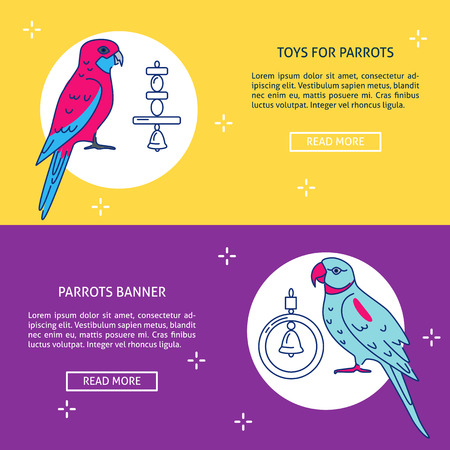 Pet shop flyer templates with parrot icons in flat style. Poster or banner with tropical birds and accessories symbols. Vector illustration.