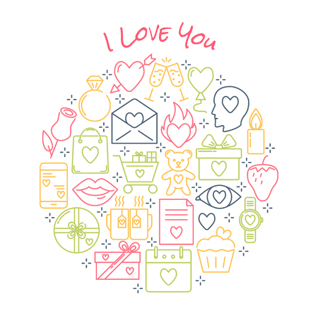 Valentine day round concept with love icons in line style. Romantic banner or poster template with I Love You text. Vector illustration.  イラスト・ベクター素材