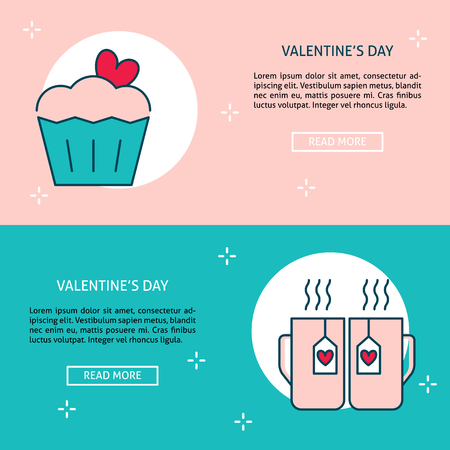 Valentines day banner templates in line style with place for text. Love concept symbols. Romantic illustrations for poster or flyer.