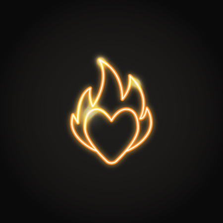 Heart on fire orange neon icon. Glowing symbol of passion. Vector illustration.