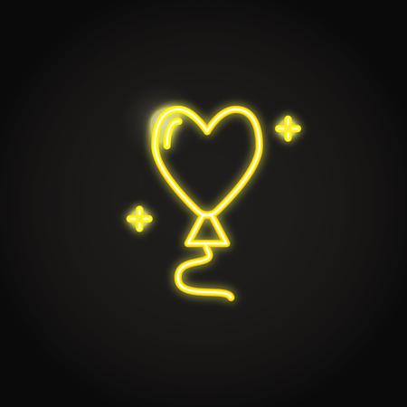 Heart shaped balloon yellow neon icon. Glowing symbol of love. Vector illustration. Ilustração