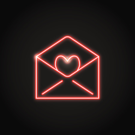 Neon mail icon in line style. Shining holiday envelope with heart symbol. Vector illustration.
