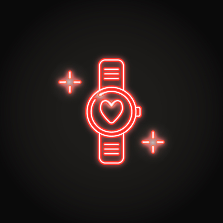 Neon smart watch icon with a heart in line style. Pulsometer with a heartbeat symbol. Vector illustration. Illustration