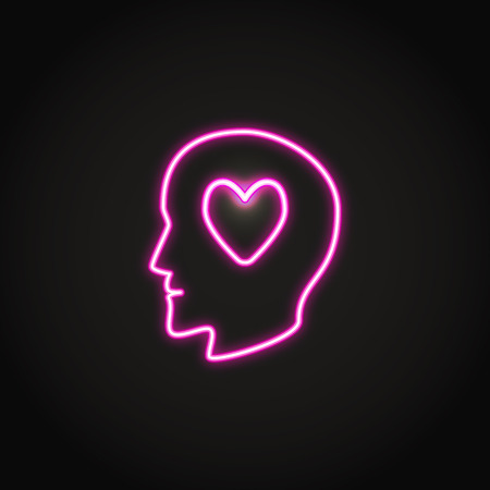 Human head silhouette with heart glowing neon icon. Man in love symbol. Vector illustration. Ilustração