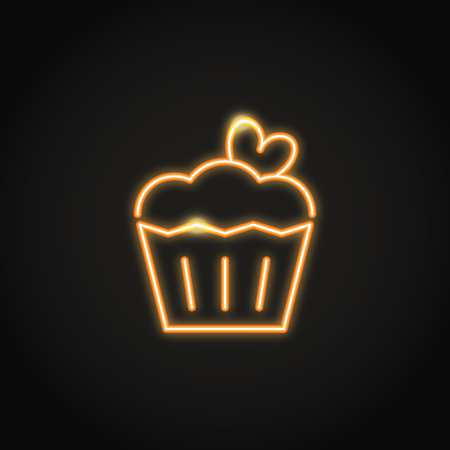 Birthday cake with heart neon icon. Glowing symbol of celebration. Shining vector sign.