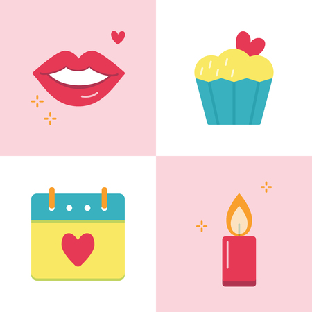 Valentine day romantic icon set in flat style. Love symbols including smiling lips, cupcake with heart, calendar and burning candle. Vector illustration.