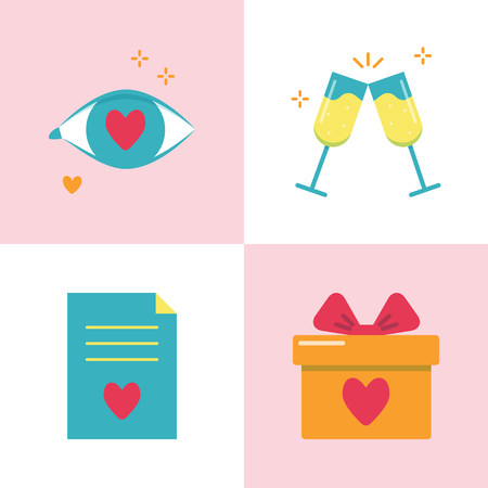 Valentine day romantic icon set in flat style. Love symbols including love in the eye, two champagne glasses, marriage contract and gift box. Vector illustration.