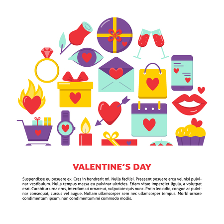 Valentines day banner with love icons in flat style. Romantic flyer or poster template with text. Vector illustration.