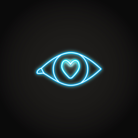 Love in the eye neon icon in line style. Glowing romantic symbol. Vector illustration.