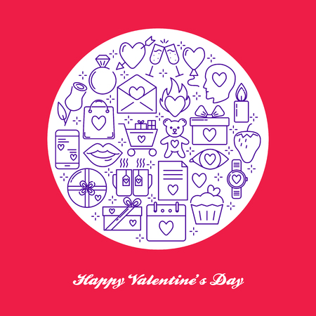 Valentine day round concept with love icons in line style. Romantic banner or poster template with text. Vector illustration.