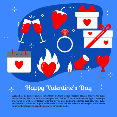 Valentines day concept banner template in flat style with place for text. Romantic poster with love symbols. Vector illustration.